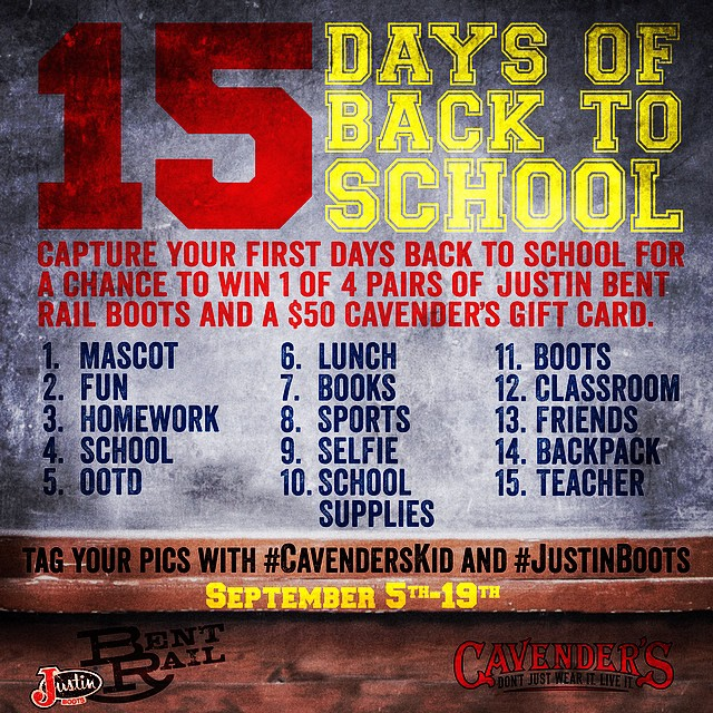 Today's theme is: #lunch! Keep entering with the hashtags #CavendersKid and #JustinBoots for a chance to WIN! #backtoschool #contest #giveaway