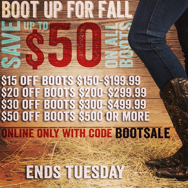 Use promo code BOOTSALE to save up to $50 on all boots! Click the link in our bio to start shopping now. #cavenders #cowboyboots #bootupforfall #getyourbootson