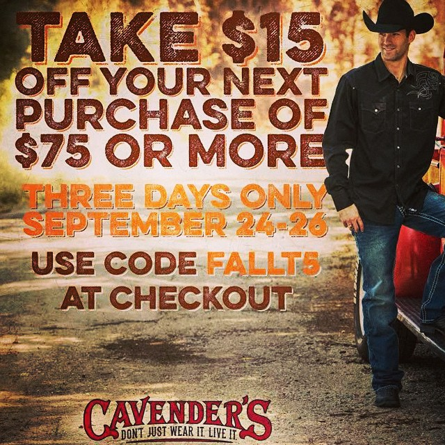 Use promo code FALLT5 to get $15 off your next purchase of $75 or more. Click the link in our bio to start shopping! #cavenders #cowboyboots #promocode #couponcode