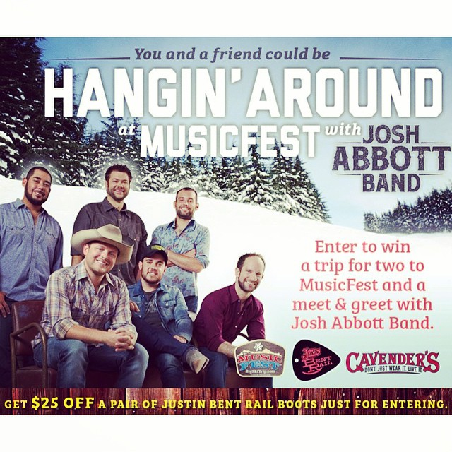 Want to meet Josh Abbott Band, go to Colorado, and win a pair of #JustinBentRail boots and a $300 Cavender's gift card? Enter by clicking the link in our bio! This is an awesome prize, y'all!!