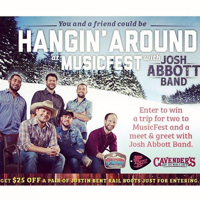 Less than ONE HOUR to enter, y'all! Win a trip to Steamboat, CO (lodging and airfare included), a $300 Cavender's gift card, and a meet-and-greet with #JoshAbbottBand! HUGE prize! Click the link in our bio to enter now! #joshabbott #countrymusic #sweepstakes @jabspirit #colorado #musicfest