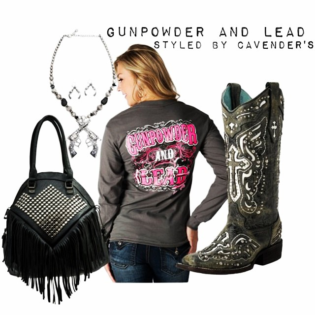 Pull the trigger on these hot western trends: studs, pistols, and gunmetal grey. Click the link in our bio to shop these items! #gunpowderandlead #cowboyboots #cavenders