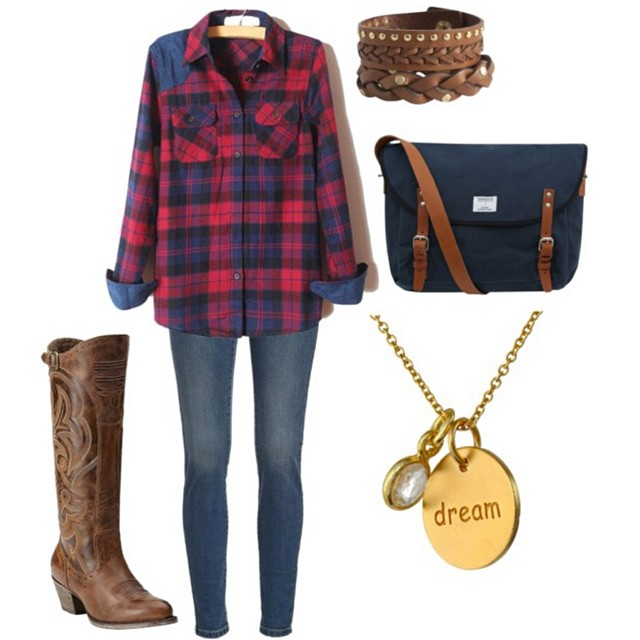 Pair your favorite plaid top with one of our favorite @ariatinternational boots for the perfect laid-back look! Via @mmfischer519 on Polyvore.
