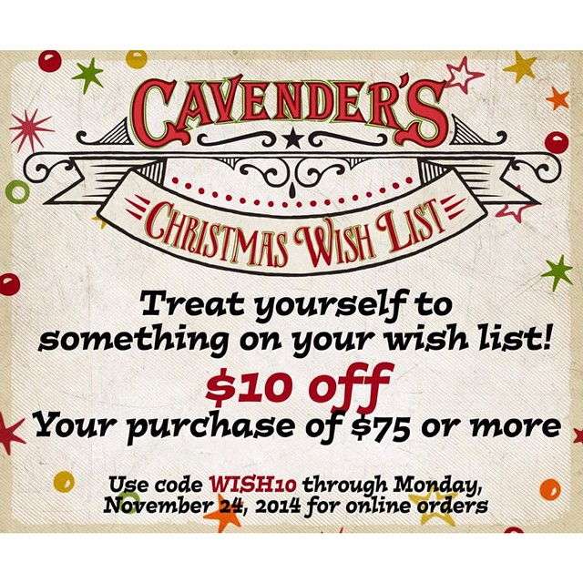 Use coupon code WISH10 today only to get $10 off! #Cavenders #couponcode