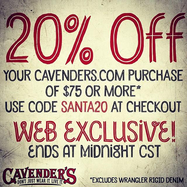 Hey, last-minute Christmas shoppers! Get 20% off $75+ using promo code SANTA20. Excludes Wrangler Rigid denim. Good til midnight!
