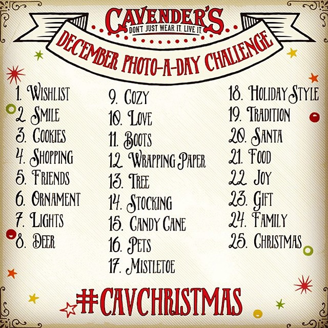 Enter our December Photo-A-Day Challenge for a chance to win 1 of 5 $100 #Cavenders gift cards! Follow the daily themes and use hashtag #cavchristmas to qualify.