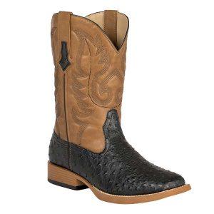Roper Men's Black Ostrich Print w/Tan Top Double Welt Square Toe Western Boots (2019000050)