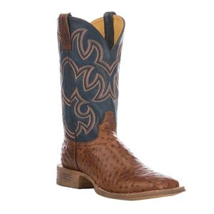 Cavender's Men's Cognac and Blue Ostrich Print Western Square Toe Boot (CVM162-3)
