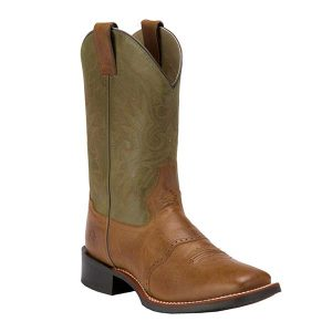 Double H Men's Cognac Tan and Olive Green Top Saddle Vamp Square Toe Western Boot (DH3571)